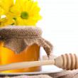 Closeup still of honey and flowers — Stock Photo