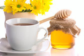 Country still with tea and honey — Stock Photo