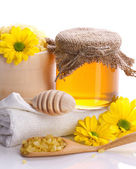 Spa still - honey and flowers — Stock Photo
