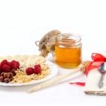 Light breakfast with honey — Stock Photo