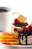 Chocolate dessert and coffee — Stock Photo