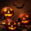 Stock Photo: Halloween, pumpkins and bats