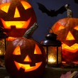 Halloween pumhkins and bats — Stock Photo #32065375