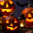 Halloween pumhkins and bats — Stock Photo