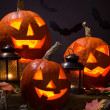 Halloween pumhkins with bats — Stock Photo