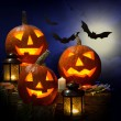 Stock Photo: Pumpkins and vampire - bat