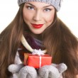 Young woman with gift box — Stock Photo