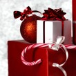 Christmass gift on bokeh background — Stock Photo