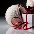 Christmas balls and gifts box — Stock Photo
