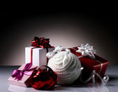 Gift boxes and christmas ball — Stock Photo