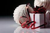Christmas balls and gifts box — Stock Photo
