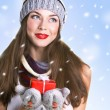 Young woman with christmass gift — Stock Photo