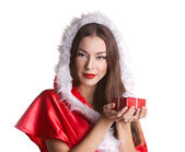 Christmas girl with present box — Stock Photo