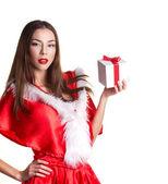 Christmas girl with gift box — Stok fotoğraf
