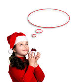 Christmas, girl with present — Stock Photo