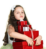 Funny girl with presents — Stock Photo