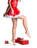 Beautiful body of christmas girl — Stock Photo