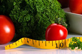 Meal and vegetable for dieting concept — Stock Photo
