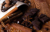 Heap of candy, chocolate and spices — Stock Photo