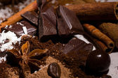 Chocolate mix and spices — Stock Photo