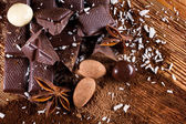 Mixed chocolate with spices — Stock Photo