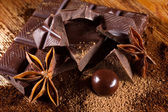 Chocolate with spices — Stock Photo