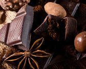 Close-up of chocolate and spices — Stock Photo