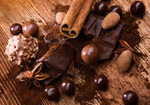 Assortment chocolate with spices — Stock Photo