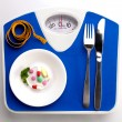 Diet menu on scale — Stock Photo