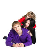 Happy family - smiling father, mother and daughter isolated on — Stock Photo