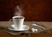 Coffee with smoke — Stock Photo