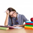 Tired girl doing homework — Stock Photo #49002145