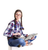Teen girl with laptop — Stock Photo