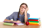 Student girl sleeping — Stock Photo