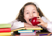 School girl with  big apple — Stock Photo