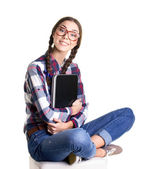 Teen girl with notebook — Stock Photo