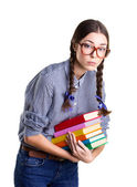 Girl with  many books — Stock Photo