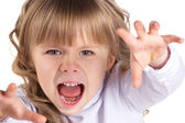 Portrait of a little screaming girl — Stock Photo