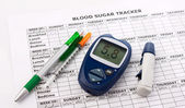 Diabetes concept with  glucometer — Stock Photo