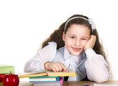 Küçük kız öğrenci çalışma — Stok fotoğraf