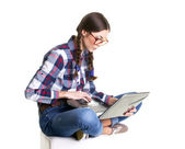 Working teen girl — Stock Photo