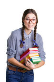 Girl with books — Stock Photo