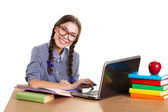 joyful girl  working on notebook — Stock Photo