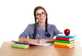 Girl student and red apple — Stock Photo
