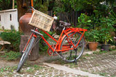 Old Red bicycle — Stock Photo