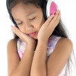 Stock Photo: Girl wearing headphones.