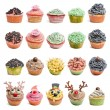 Cupcakes collection against white background in front of white background — Stock Photo