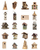 Collection of birdhouses, isolated on white — Stock Photo
