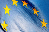 Fragment of the European Union Flag waving in wind — Stock Photo