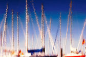 Reflection of boats and masts in the water — Stock Photo